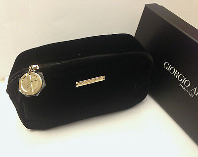 GIORGIO ARMANI Black Velvet Make Up Cosmetic Bag Clutch Pouch NIB