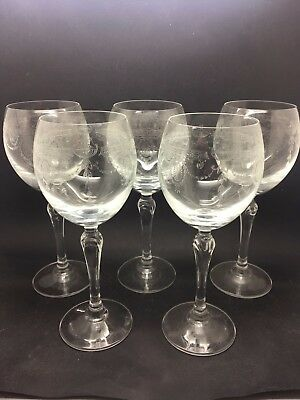 Set Of 5 French Crystal Wine Glasses In Urn & Swag Continental Design