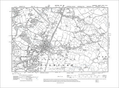 Wilmslow, old map Cheshire 1911: 28NW
