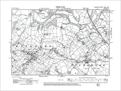 Kingsley, Crowton, old map Cheshire 1911: 33NW