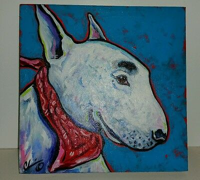 English Bull Terrier Custom Dog Painting by Chris Wakefield!!