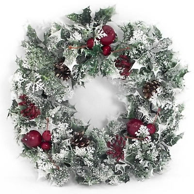 Large Artificial Christmas Holly Wreath Frosted Variegated with Fruits  42cm