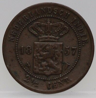 Nederlands Indie - NETHERLANDS EAST INDIES 2 1/2  CENT 1857 - KM# 308