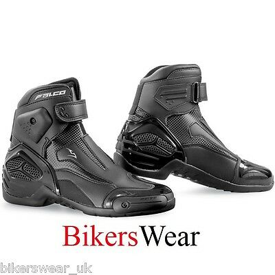 Falco Boots - Novo 2 Black Leather Short Ankle Motorcycle Boots