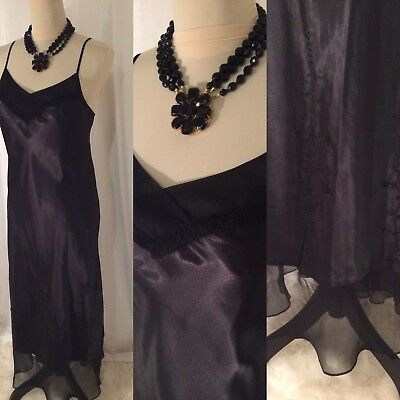 BLACK SATIN Chiffon Long NIGHTGOWN w beaded details~ bust to 36 M