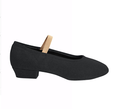 Childs Canvas Character low style heel shoe Black elastic sewn in B Graded