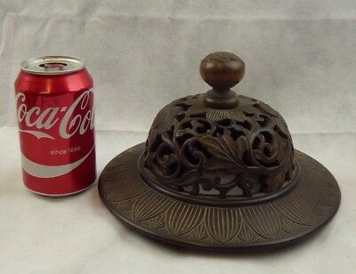 Chinese Antique Large Carved Wooden Vase / Jar Cover Lid Pierced Work Qing Fine