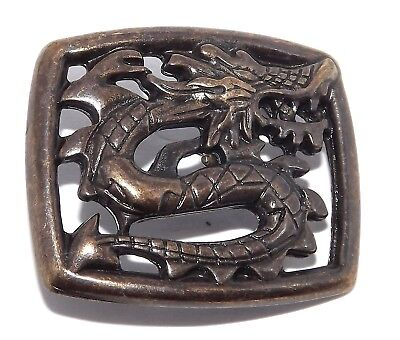Chinese Style Dragon Brass Plated Pewter Rivet Concho