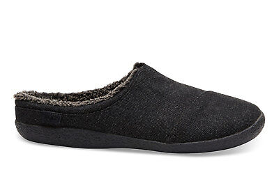 TOMS Mens Berkeley Black Herringbone Slippers Slip On Size UK 6 EU 40 US 7