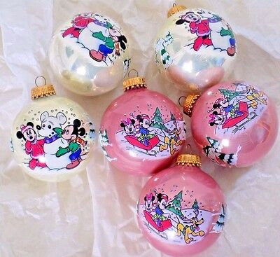 Lot of 6 Vintage Kerbs Disney Mickey Minnie Mouse Christmas Glass Ornaments
