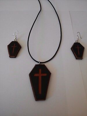 Coffin jewellery, Gothic, Vintage, coffin, cross, leather, metal, punk,