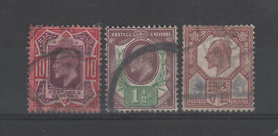 G.B. KE VII 3 used stamps which are Somerset House printings