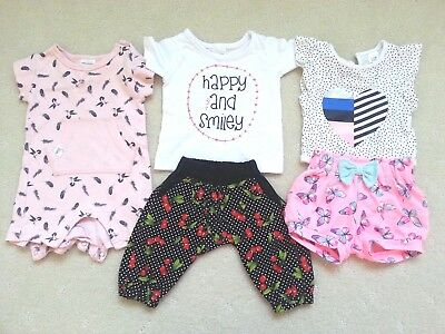 5 Pcs NewBorn Baby Girl's Summer Bundle, Size 0000 in EUC