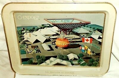 1967 Montreal Canada Expo 67 Worlds Fair Metal Tray Pavilion of Canada