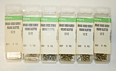 "#6 x 1/2"" Solid Brass Wood Screws Round Head Slotted Drive - Lot of 96 pcs."