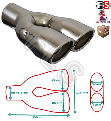 """Universal Stainless Steel Exhaust Tailpipe 2.25"""" In Twin Yfx-0117  Sbr"""