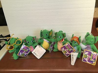 Pocket Dragon Stuffed Animals Set Of 6 With Display Signed. RARE