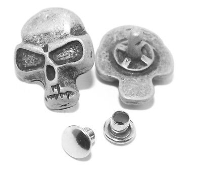 Three Small Skull Gothic Occult Pewter Rivet Conchos