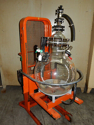 Chemical Glass Reactor Vessel 30 gallons Receiving Flask Tank with Lift (512)