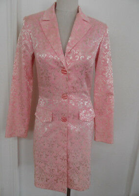 Breakin' Loose VTG 1980'S Pink LONG BLAZER Coat Jacket Gr8 Costume Women's S/M