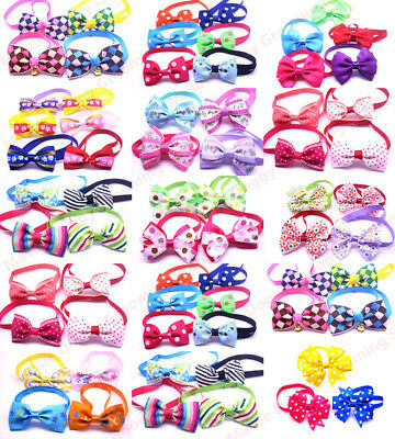 Pet Necktie 100pcs Mix All Style Popular Designs Collar Bow Ties Accessories