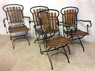 4 Vintage French Folding Wrought Iron Metal Teak Garden Patio Chair Seat Bistro