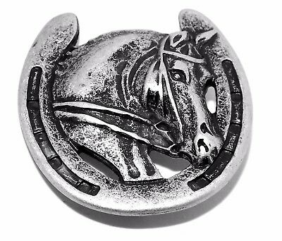 Lucky Horseshoe Pewter Rivet Horse Concho