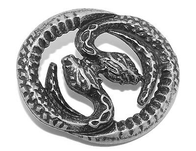 Snakes of Hecate Pewter Pagan Rivet Concho