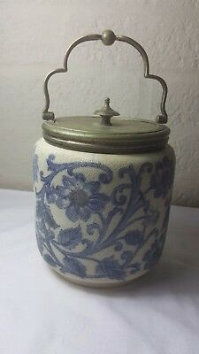 Art Nouveau blue and cream flowered  pottery biscuit barrel