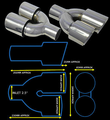 T304 Stainless Steel Dual Universal Exhaust Tailpipes Yfx-0260-Sp35  Mrc1