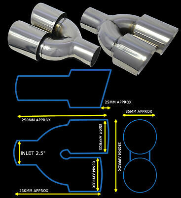 Stainless Steel Dual Universal Exhaust Tailpipes Yfx-0260-Sp35 Mtb2