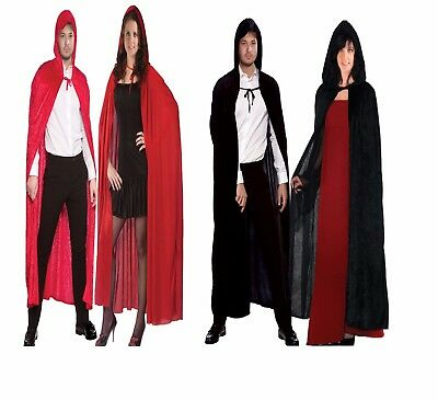 "Unisex 65"" Velvet Hooded Cape Cloak Vampire Black Lipstick A Lot Halloween Dress"