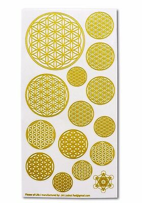 Flower of Life, 10 Stickers (1 sheet), Transparent, Gold Color