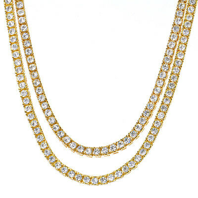 """Men's Bling Iced Out 4 mm 20"""" / 24"""" Double 14K Gold Plated Tennis Chain Necklace"""
