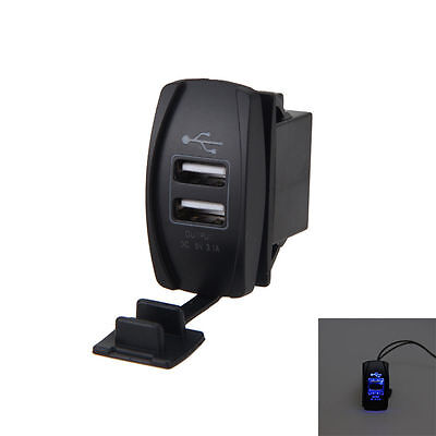 Blue USB Charger for Polaris UTV RZR RZR4 Ranger XP 1000 900 800 Crew FF