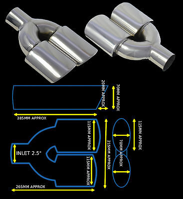 Universal Stainless Steel Exhaust Tailpipe Dual Twin Yfx-0351-Sp  Lts