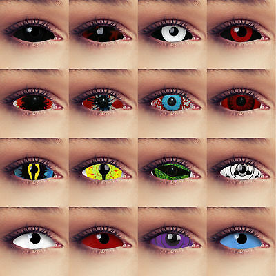 Colored full eye sclera contacts costume halloween 22mm cosplay lenses black red