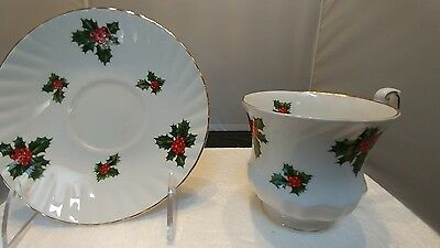 Royal Dover Christmas Holly Berry Teacup and Saucer