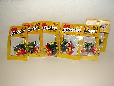 Lot of 6 Dollhouse Miniature 4 Pc. Wooden Toy Train Sets  ~ 1:12 Scale