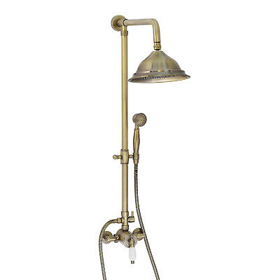 ENKI 8 inch Shower Set Brass Thermostatic Sequential Antique Bronze Traditional