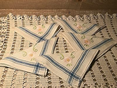 Vintage Set of Five Cloth Napkins with Embroidered Flowers and Blue Boarder