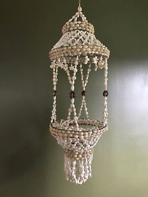 Vintage Large Shell Plant Holder Coastal Chandelier