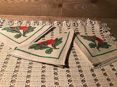 Cloth Napkins with Red Flower Set of Three Vintage