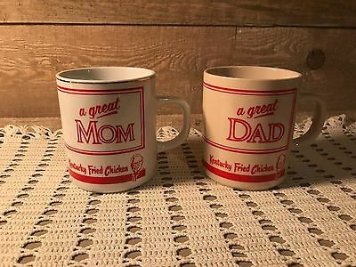 Vintage Kentucky Fried Chicken A Great Mom A Great Dad Mugs Set of Two KFC