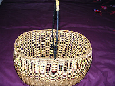 Wicker   Metal  Framed  Strong  Two  Sectioned  Oval   Vintage  Shopping  Basket