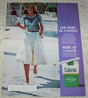 1975 ad page - Salem Cigarettes SEXY GIRL smoking tobacco advertising ADVERT