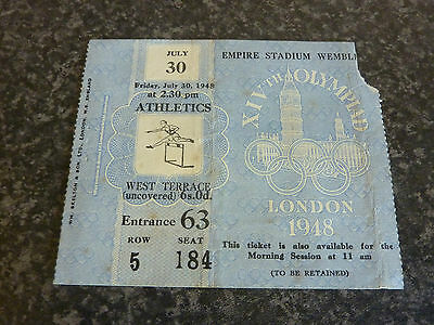 London 1948 Olympic Games July 30Th Athletics Ticket Vgc