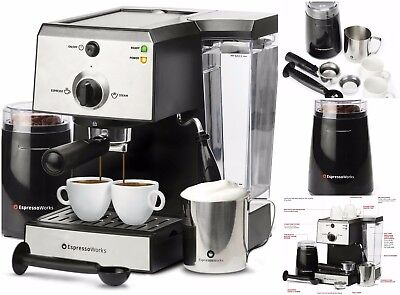 7 PC Espresso Cappuccino Machine Electric Coffee Bean Grinder Tamper 2 Cup Spoon