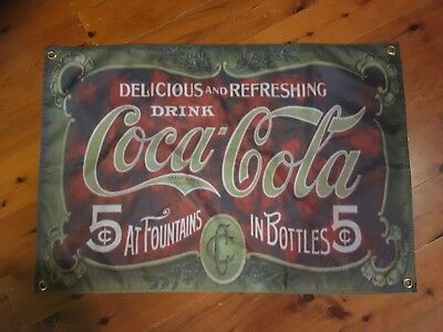 Coca Cola novelty signage wallhanging 3x2 foot bar flag COKE mancave flag