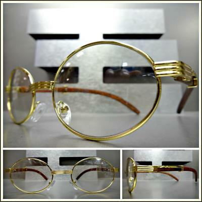 Men's CONTEMPORARY Clear Lens EYE GLASSES Oval Gold & Wood Wooden Effect Frame